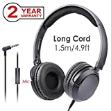 Avantree Superb Sound Wired Headphones with Microphone, 1.5M/4.9FT LONG CORD with Mic for Adults, School Students, Kids, Comfortable On Ear Headsets for Computer, Laptop, iPad, Tablet, Phone - 026 Bla