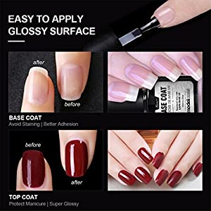 Modelones Top Coat and Base Coat for Gel Nail Polish UV LED Soak Off New Upgraded Formula Long-Lasting and Shiny Finish, 0.33 OZ, 2 PCS