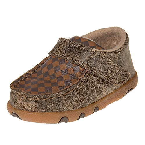 Twisted X Boots Boys Kids Patchwork Driving Mocs 6 Brown (Patchwork Driving)