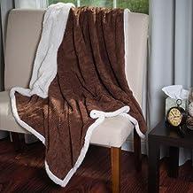 Somerset Home Plush Corduroy Sherpa Throw Blanket, Brown