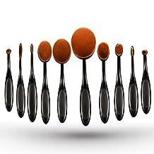 ElleSye 10pcs Oval Makeup Brush Set, Professional Toothbrush Set