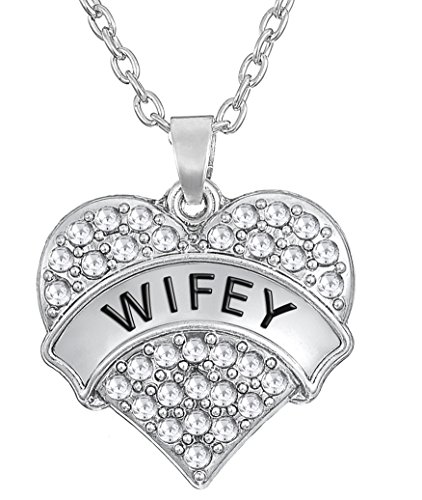 Glamour Girl Gifts Collection Wifey Crystal Heart Necklace Gift for Wife Girlfriend BFF - Choose Pink or Clear Crystals (Clear (Best Glamour Girl Gifts Collection Friend Gifts Anchors)