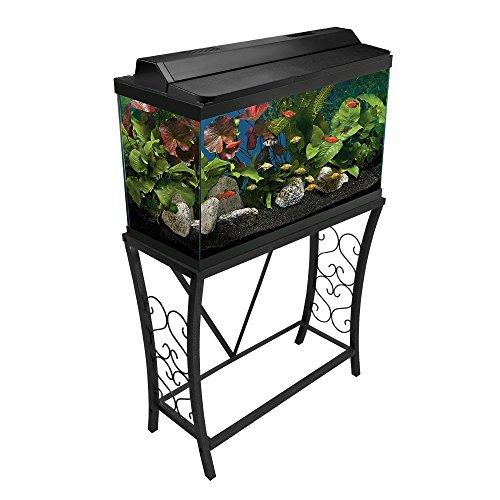 Aquatic Fundamentals 102291, 29 Gallon Metal Aquarium Stand, Classic Scroll Design-Black