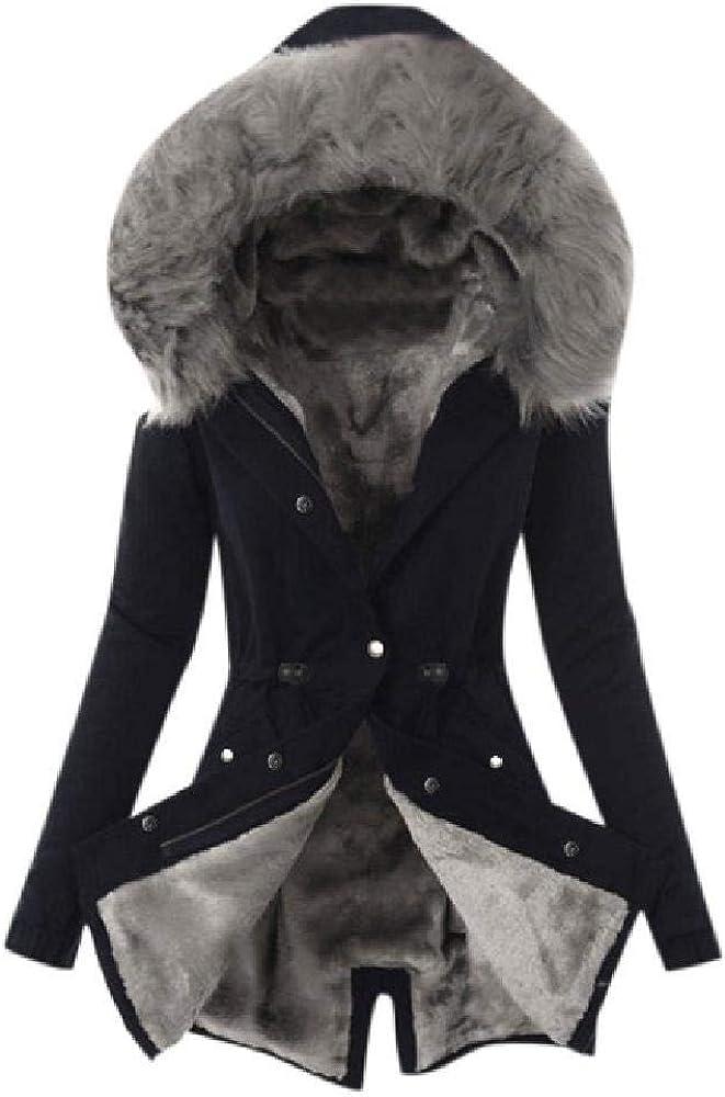 YNPM - Abrigo de Felpa Gruesa con Capucha para Mujer, Otoño-Invierno, Mujer, Color Negro (, tamaño S