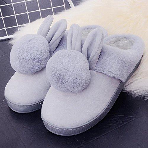 Fankou il creative paio di pantofole di cotone uomini pacchetto con l'inverno piscina home dormire scarpe Jane ha un antiscivolo tendenze Moda 1809 ,41-42, (grigio)