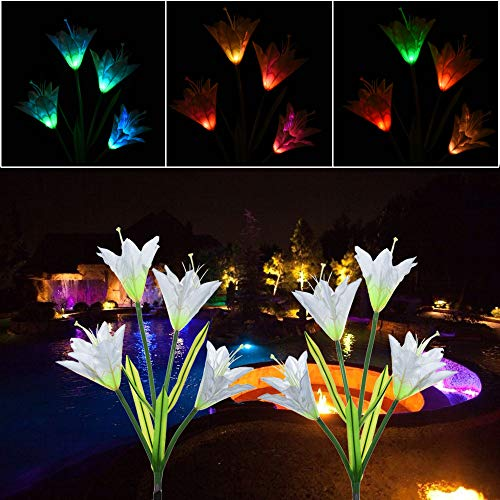 (Nesee 7 Color Change Solar Light Flower Lily Stakes, Outdoor LED Garden Flowers for Night Lighting, Solar Path Walkway, Lawn, Garden, Pond, Patio, Gravestones, Special Occasions(Ship from US))