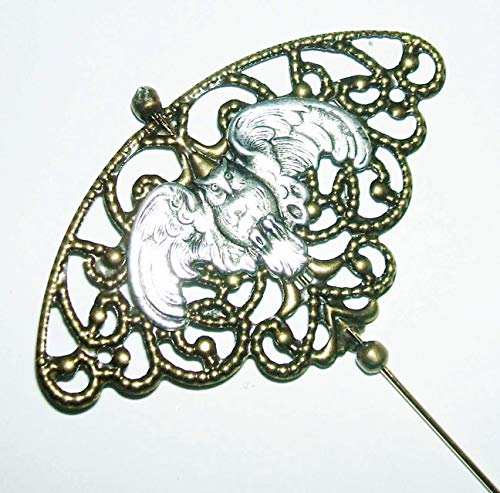 VICTORIAN OWL BIRD Stick Hat Pin Long Hatpin Gold Plt
