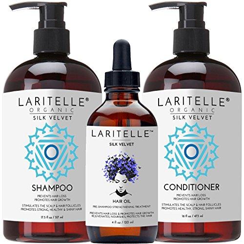 Laritelle Organic Hair Growth Set Silk Velvet | Shampoo 17 oz + Conditioner 16 oz + Hair Loss Treatment 4 oz | Plant-based Keratin Protein + Biotin + Rosemary, Geranium, Chamomile. SLS-free. Vegan. GF