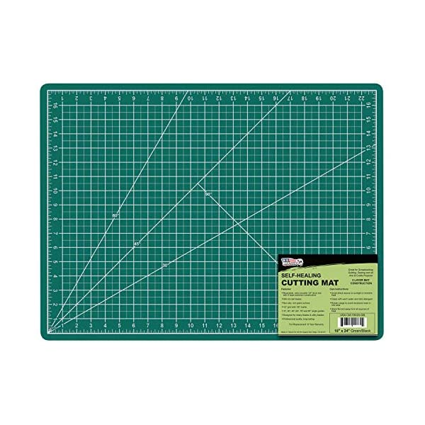 US Art Supply 18″ x 24″ GREEN/BLACK Professional Self Healing 5-Ply Double Sided Durable Non-Slip PVC Cutting Mat Great for Scrapbooking, Quilting, Sewing and all Arts & Crafts Projects