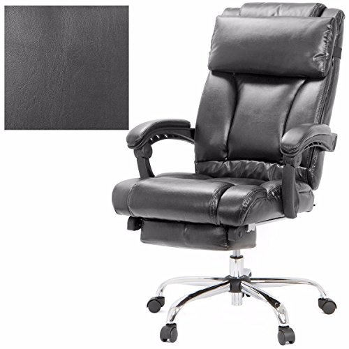 Executive Reclining Office Chair Ergonomic High Back Leather Footrest Armchair - Black + FREE E-Book