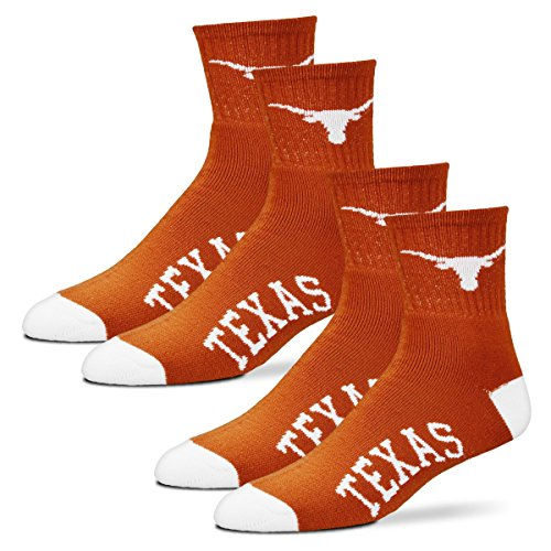 For Bare Feet Men's Quarter Socks-Texas Longhorns-Large-Burnt Orange-2 - Ut Longhorn Football