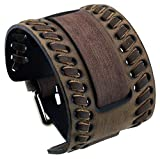 Nemesis WLB-B Washed Brown Wide Leather Cuff Wrist Watch Band