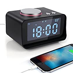 Digital Alarm Clock FM Radio Loud Smart LED Alarm Clock for Heavy Sleepers USB Phone Charger Music Speaker with Snooze Function Indoor Thermometer LCD Screen for Bedroom Room Hotel Table Desk-Black