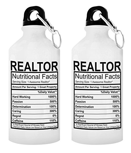 Real Estate Agent Gifts Realtor Nutritional Facts Realtor Gift 2-Pack Gift Aluminum Water Bottles with Cap & Sport Top White