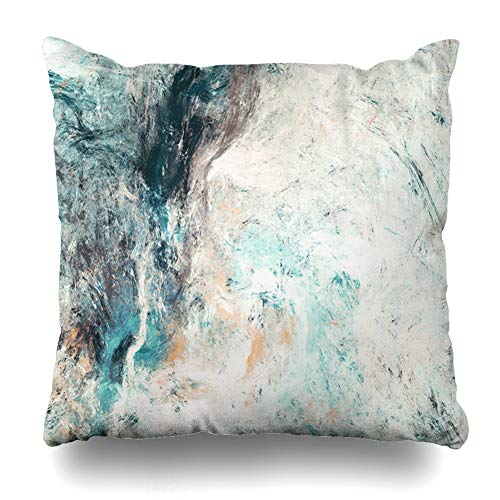 Ahawoso Throw Pillow Cover Paint Abstract Blue White Col Dynamic Grey Painting Modern Futuristic Pattern Fractal Design for Home Decor Cushion Case Square Size 20 x 20 Inches Zippered Pillowcase