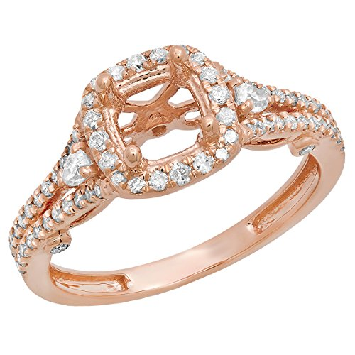 0.50 Carat (ctw) 14K Rose Gold Pear & Round Diamond Bridal Semi Mount Engagement Ring 1/2 CT (Size 10) Round Diamond Pear Semi Mount
