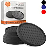Large Drink Coasters - Absorbs Moisture and Prevents Table Damage, Modern Black Rubber Coaster with Non-Slip Bottom for Drinking Glasses, 6 Pack