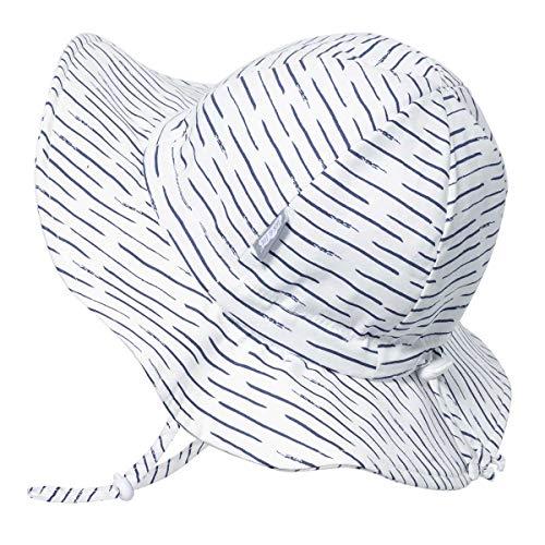JAN & JUL Toddler Boys Girls Cotton Sun Hats 50 UPF, Drawstring Adjustable, Stay-on Tie (M: 6-24m, White - Clothing Kids Hats