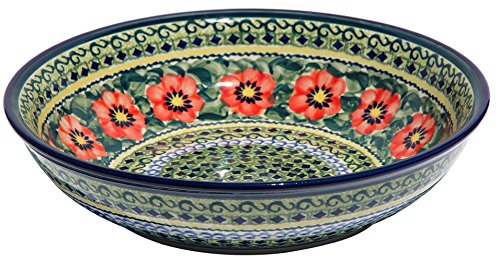 (Polish Pottery Bowl From Zaklady Ceramiczne Boleslawiec 1013-134 Art Unikat Signature Pattern, Diameter: 10