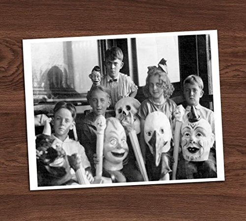 Creepy Kids Masks Group Photo Vintage Photo Art Print 8x10 Wall Art Halloween Decor -
