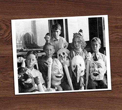 Creepy Kids Masks Group Photo Vintage Photo Art