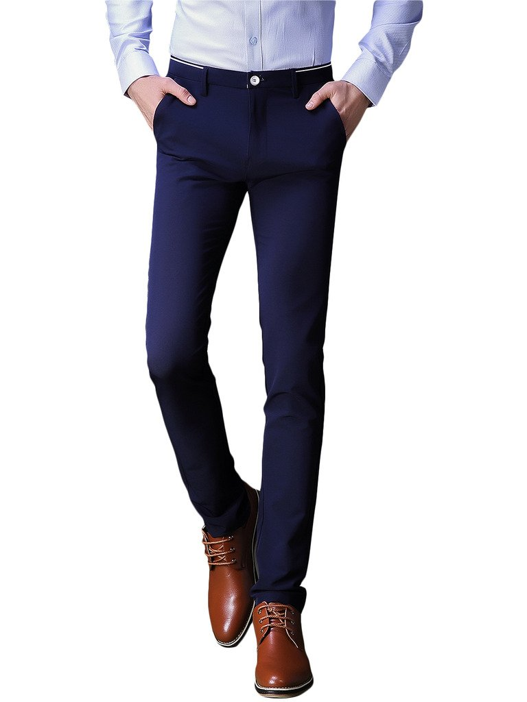 INFLATION Mens Wrinkle-Free Slim-Tapered Stretch Casual Pants,Flat Front Suit Pants Blue by INFLATION
