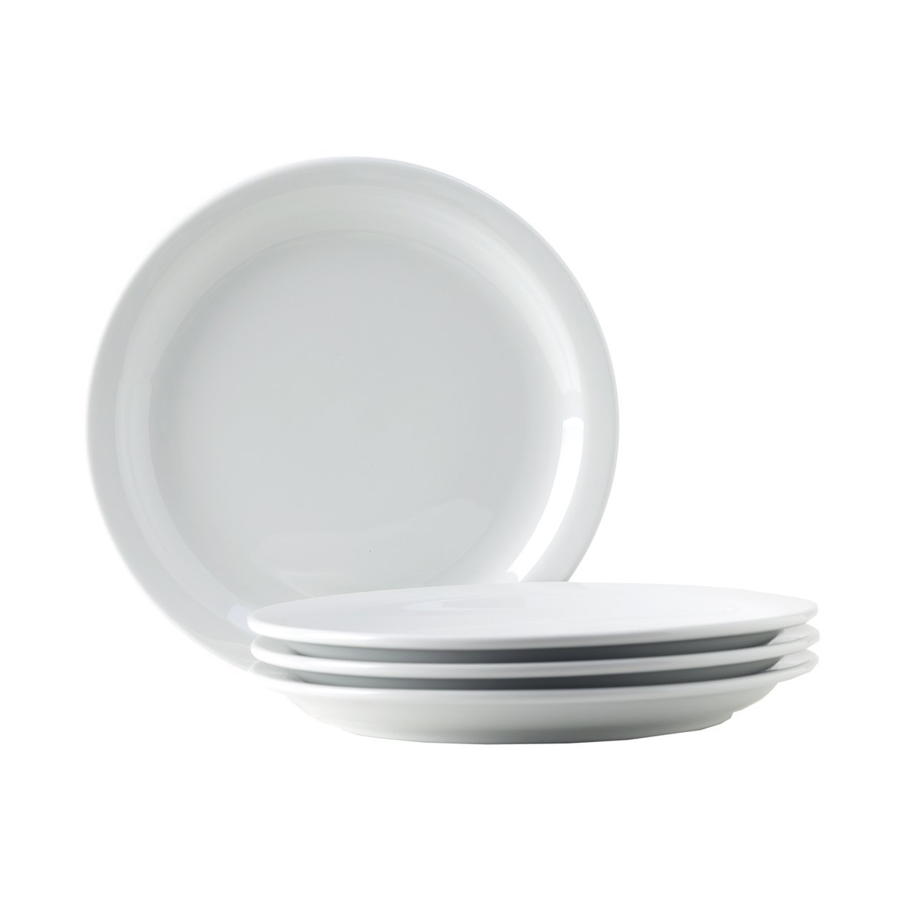 Tuxton Home Colorado Porcelain White 10-1/2''Narrow Rim Dinner Plate - Set of 4; Heavy Duty; Chip Resistant; Lead and Cadmium Free; Freezer to Oven Safe up to 500F
