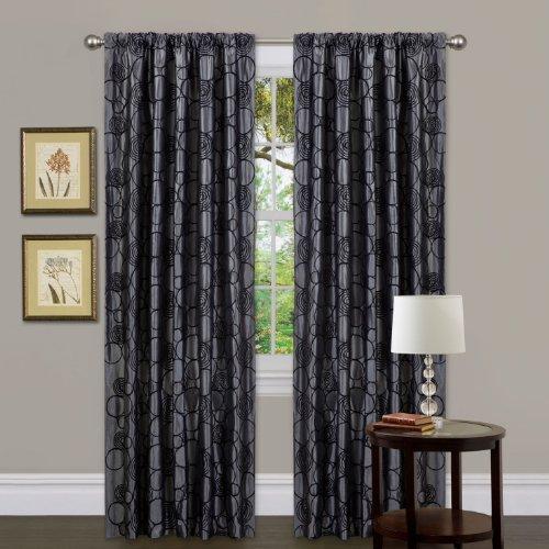 Lush Decor Triangle Home Fashions 18993 Circle Charm Window Curtain Single Panel, 84 inch x 42 inch, Gray