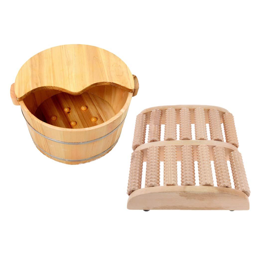 Fityle Wood Foot Soaking Barrel Bucket, Foot Bath Tub with Cover for Foot Massage Spa Sauna Soak with Wood Foot Massage Roller by Fityle