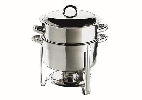 Aps 11678 - Olla para sopa con hornillo calentador redonda ø 33 cm alto 35 cm acero inox (h.nr.)