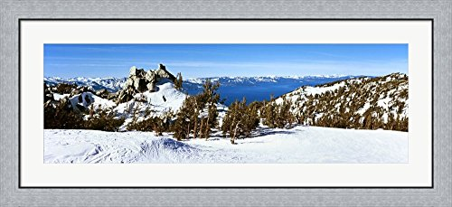 Trees on a snow covered landscape, Heavenly Mountain Resort, Lake Tahoe, California-Nevada Border, USA by Panoramic Images Framed Art Print Wall Picture, Flat Silver Frame, 44 x 20 - Heavenly Tahoe Lake