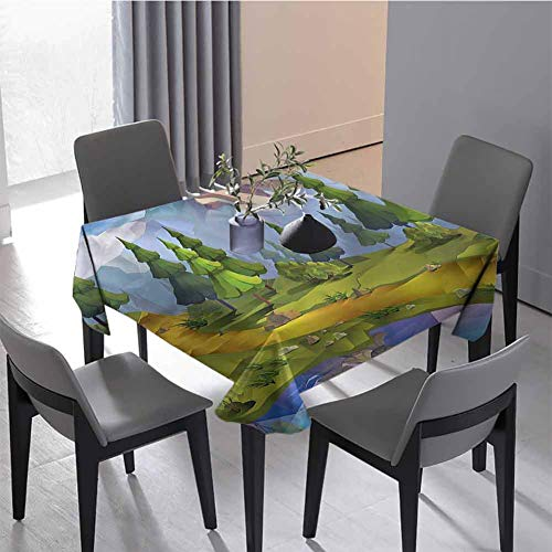 Pattern Tablecloth Kitchen Tablecloth Polygonal Lake Forest Holiday Dinner 70 x 70 inch (Christmas Lake Market Square Forest)