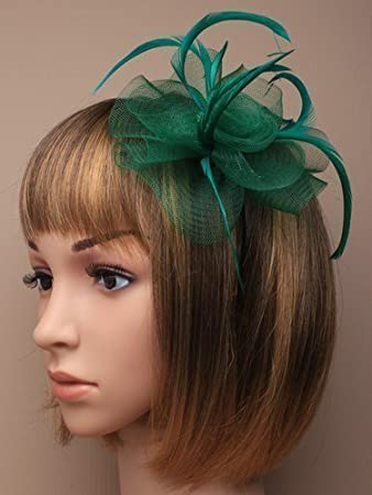 Amazon.com   Green net and feather hair fascinator on a slim alice band 3f5d08d018a