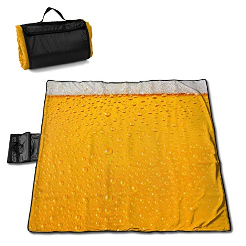 Yorkshire Ale - Dewy Beer Glass Texture Sandfree Beach Blanket Extra Large Soft Pocket Picnic Blanket Waterproof Outdoor Family Mat for Beach Camping Hiking Music Festival 57