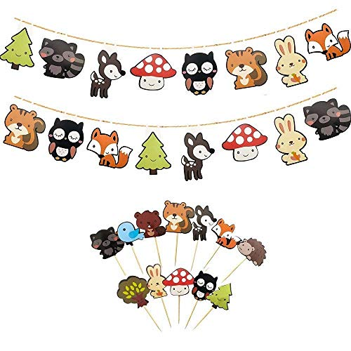 Set of 2 Cute Woodland Creatures Banners with 12-Pack Woodland Animal Cupcake Toppers Picks, Kids Woodland Theme Baby Shower Birthday Party Decor.