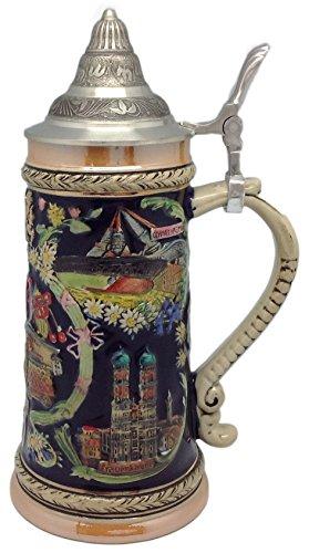 1 Liter Beer Stein Bayern German Village Scenes Engraved Lidded Beer Mug by E.H.G