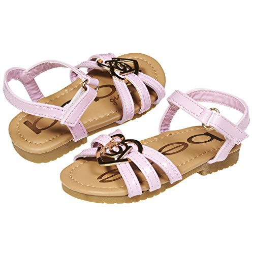 bebe Fashion Patent Pu Slingback Flat Flip Flop Sandal Shoes with Heart for Girls Toddler/Little Kid Size 8 Light Pink/Gold