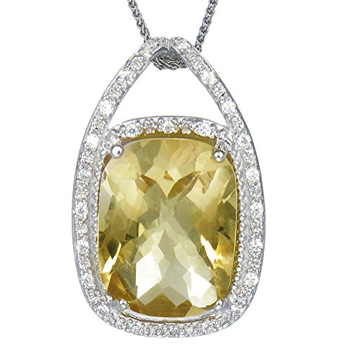 Citrine Cushion Necklace - Silver Citrine Pendant Cushion Cut (8.25 CT) With 18 Inch Chain