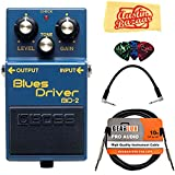 Boss BD-2 Blues Driver Bundle with Instrument Cable, Patch Cable, Picks, and Austin Bazaar Polishing Cloth