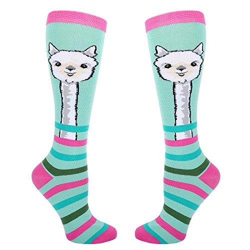 (Women's Novelty Funny Llama Knee High Socks, Crazy Cute Alpaca Over the Calf Socks, Cozy Striped Boot Socks)