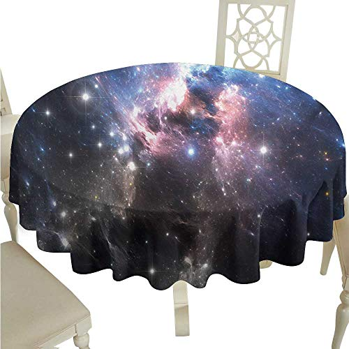 (Willsd Polyester Tablecloth Constellation Giant Nebula in Vivid Colors Space Motion Supernova Futuristic Party D60 Suitable for picnics,queuing,Family)