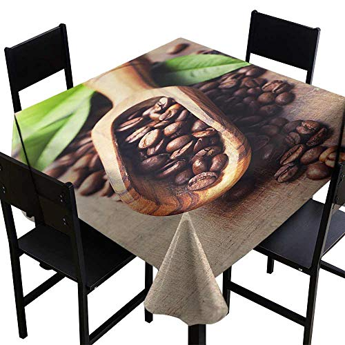 StarsART Round Tablecloth spillproof Coffee,Beans on The Old Table Morning Drink Waking Up Rustic Theme Leaves Beans,Pale Caramel Green D54,for Umbrella - Wine Caramel Merlot