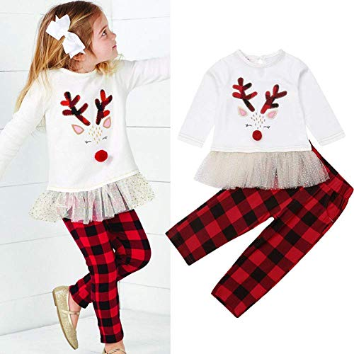 Little Girls Christmas Outfits Long Sleeve Reindeer Tops + Red Plaid Pants Clothes Sets 2Pcs (White, 7 Years) for $<!--$28.99-->