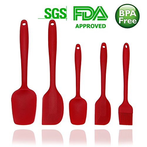 TUKANG Premium Silicone Spatula Set,Rubber Heat Resistant, Easy To Clean,Solid Stainless Steel Core Seamless One-Piece Design,Best  Nonstick Cookware Cooking and Baking Kit Solid Spatula