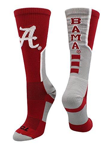 TCK Sports University of Alabama Crimson Tide Perimeter Crew Socks (Crimson/Grey/White, Medium) from TCK