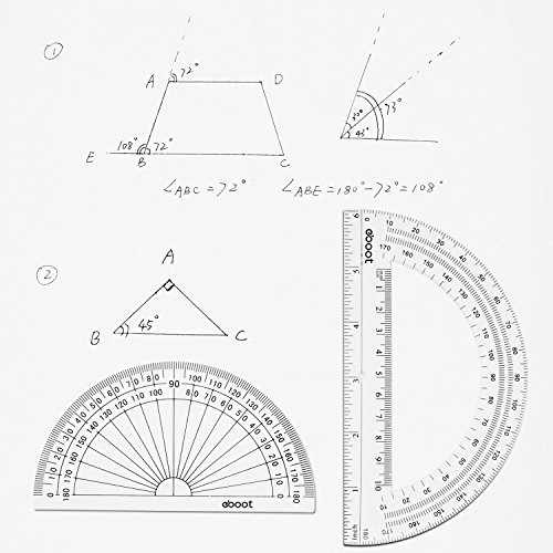 eBoot Plastic Protractor 180 Degree, 4 Inch and 6 Inch, Clear, 2 Pieces by eBoot (Image #6)