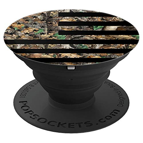 American US Flag Hunting Camo Deer Bird Hunter Gift - PopSockets Grip and Stand for Phones and Tablets