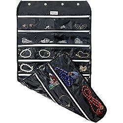 Brotrade Hanging Jewelry Organizer With Oxford Dual Side 56 Zippered Storage Pockets