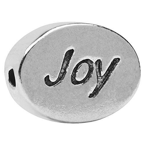 Lead-Free Pewter Message Bead, Joy' 11x8mm, 1 Piece, Antiqued Silver