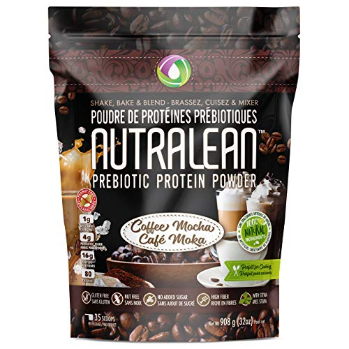 NUTRALEAN PREBIOTIC Protein Powder - 100% All Natural Peanut/Nut Free Grass Fed Whey Protein Powder - Gluten & Soy Free with No Artificial Sweeteners or Flavours | (Coffee Mocha) (Best Protein Powder Canada)